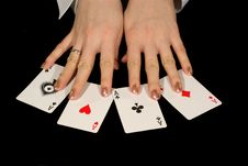 Free Four Aces And Female Hands On Black Stock Photo - 1972880