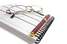 Free Notebook, Glasses And Pen Royalty Free Stock Photo - 1972885