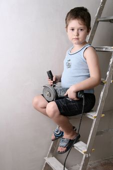 Boy With Palette-knife Stock Photos