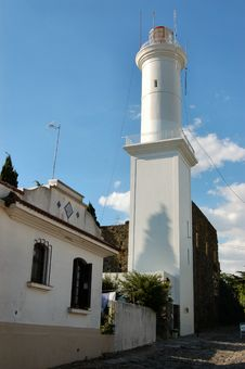 Lighthouse At Colonia Del Sacramento Stock Images