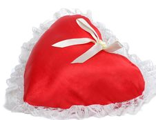 Red Pillow As A Heart Stock Images
