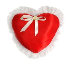 Red Pillow As A Heart On The Day Of Sainted Valentine On A White Royalty Free Stock Photo