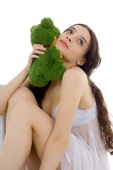 Free Beautiful Girl With Her Plush Toy Stock Image - 1979501