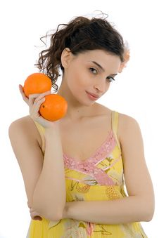 Free Beautiful Woman With Oranges Stock Photos - 1979653