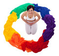 Free Yong Woman Doing Yoga Exercise In Rainbow Color Royalty Free Stock Photo - 19708795