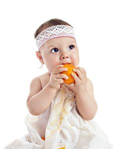 Free Baby Girl With Orange Stock Photography - 19700342