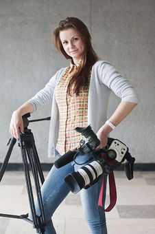 Free Girl With A Videocamera Stock Images - 19700934
