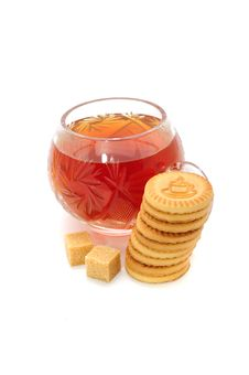 Cup Of Tea, Cookies And Sugar Stock Photo
