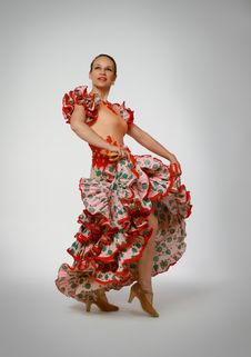 Free Young Woman Dancing Flamenco With Castanets Stock Photo - 19701220