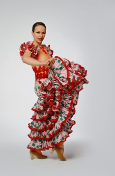 Free Young Woman Dancing Flamenco With Castanets Royalty Free Stock Image - 19701386