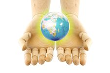 Free A World On Wooden Hand Royalty Free Stock Photo - 19702225