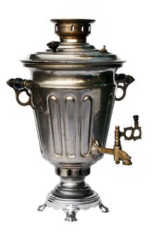 Free Old Traditional Russian Samovar On White Stock Photography - 19702612