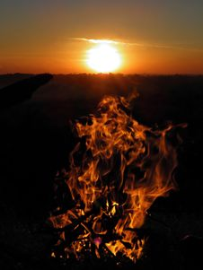 Free Flames Against Sunset Royalty Free Stock Images - 19702719