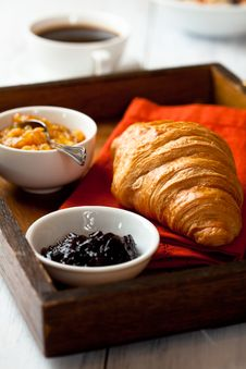 Free Croissant And Fruit Jam On A Rustic Tray Royalty Free Stock Photography - 19703347