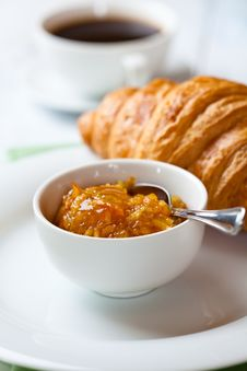Free Closeup Of Orange Jam And Croissant Royalty Free Stock Image - 19703376