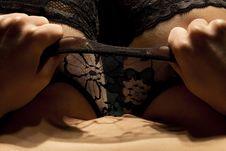 Female Body In Black Underwear Stock Image