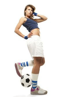 Free Sexy Girl With Soccer Ball Royalty Free Stock Photo - 19703485