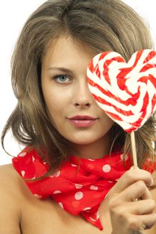 Free Woman With Heart Shaped Lollipop Stock Image - 19703501
