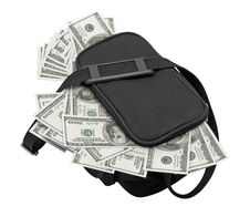 Free Black Bag Full Of Money. Stock Images - 19705154