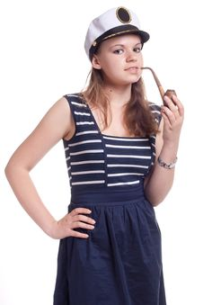 Free Girl In A Sailor Cap Smoking A Pipe Stock Photos - 19705273