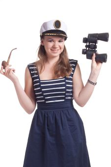 Free A Girl In A Sailor Cap Royalty Free Stock Images - 19705379