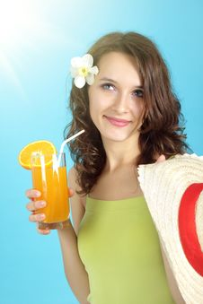 Free Girl Holding A Glass Of Juice Stock Photos - 19707363