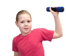 Free The Girl From Dumbbells Royalty Free Stock Photos - 19707518