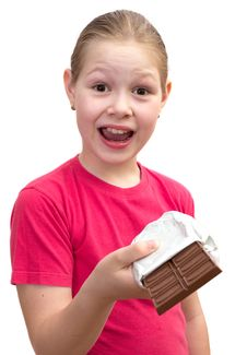 Free The Girl With A Chocolate Stock Photography - 19707562