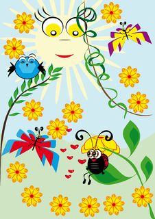Free Cartoon Animal Under Bright Sun Royalty Free Stock Image - 19707666