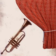 Free Background With  Trumpet And Curtain Stock Image - 19708751