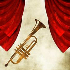 Free Background With  Trumpet And Curtain Royalty Free Stock Photo - 19708755
