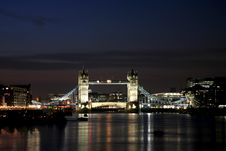 Free Tower Bridge At Night Stock Image - 19708961