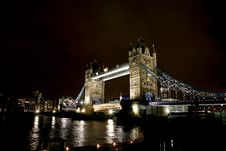 Free Tower Bridge At Night Stock Image - 19708991