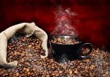 Free Coffee Beans With Smoke Stock Image - 19709071