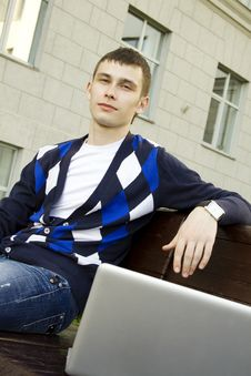 Free Studying With A Laptop On Campus Stock Photography - 19709162