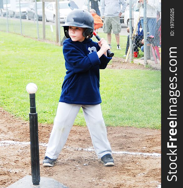 T-Ball player at bat.