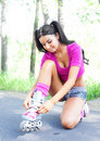 Free Woman On Roller Skates Royalty Free Stock Photography - 19711937
