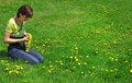 Free Girl Resting On The Green Meadow Royalty Free Stock Images - 19718599