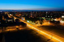 Night Shot Of A Busy City Stock Photos