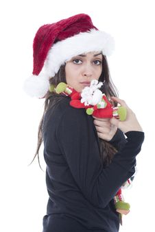 Free Woman With Christmas Hat Royalty Free Stock Photo - 19710355