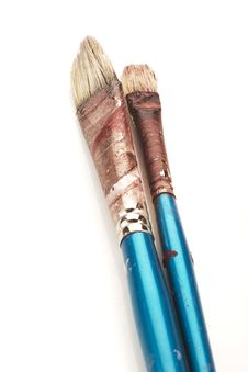 Two Old Art Brushes Royalty Free Stock Images