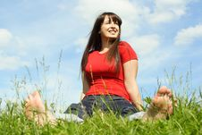 Free Barefooted Women Siting On Summer Meadow Stock Images - 19712004