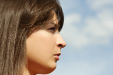 Free Young Brunette Girl, Blue Sky Royalty Free Stock Photo - 19712005