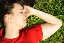 Free Girl Lying On Summer Meadow Royalty Free Stock Photography - 19712007