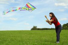 Free Girl Flying Kite On Summer Meadow Royalty Free Stock Images - 19712009