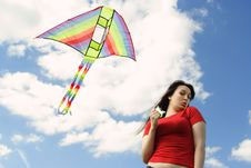 Free Girl In Red Shirt Flying Kite Stock Photo - 19712010