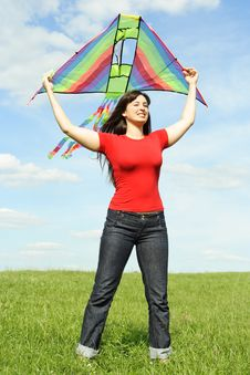 Free Girl Standing On Summer Meadow With Kite Stock Image - 19712011
