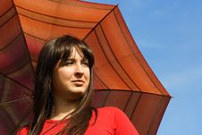 Free Girl Holding Red Umbrella, Blue Sky Royalty Free Stock Photography - 19712017