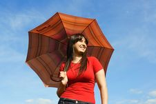 Free Girl In Red Shirt Holding Umbrella, Blue Sky Royalty Free Stock Photos - 19712018