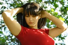 Free Girl In Red Shirt, Hands Behind Head Royalty Free Stock Photo - 19712035